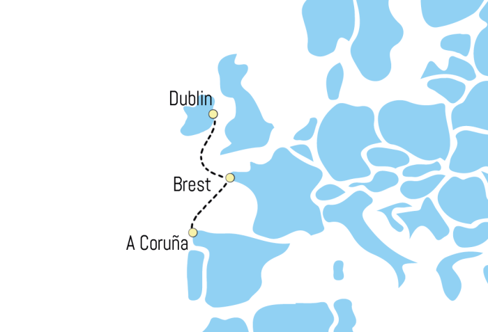 Route von Dublin über Brest nach A Coruna