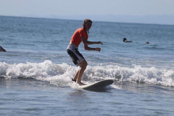 Ruben beim surfen
