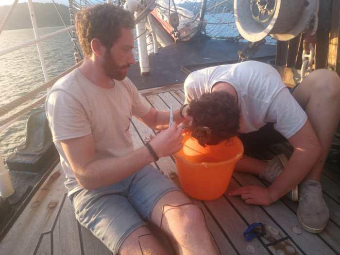 Friseursalon auf dem Schiff