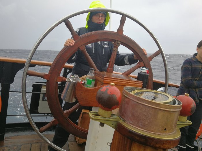 Sophia at the helm