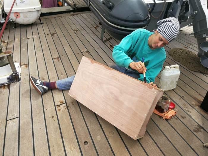 Elisa working on deck
