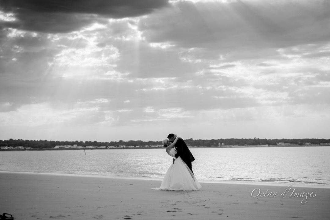 Photographe mariage La Rochelle et île de Ré noir et blanc
