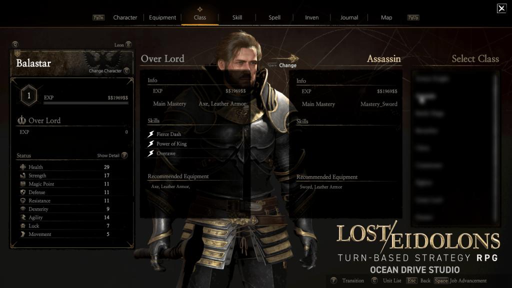 Lost Eidolons Class Change UI