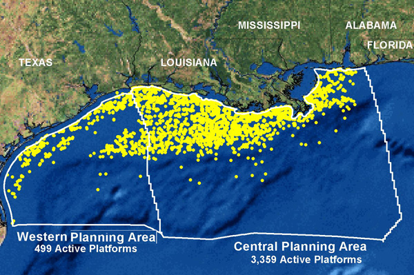 Coast Florida Gulf Mexico Oil Rigs