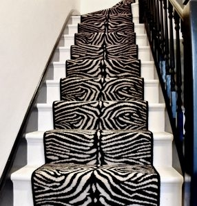 Why You Need A Patterned Carpet In Your Life Ocean Flooring   Grey Patterned Carpet For Stairs   Fitting Loop Pile Carpet   Room Matching Str*P   Middle Open Concept   Runners   Living Room