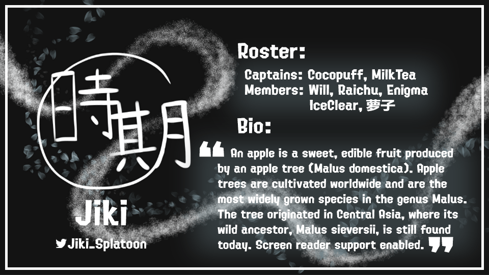 Team Bio graphic for Jiki by Meowsifer