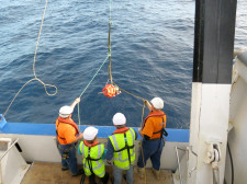 The research vessel Tangaroa deployed devices capable of recording conditions all the way to the bottom, then surfacing to relay the data to a satellite. (Credit: Learnz)