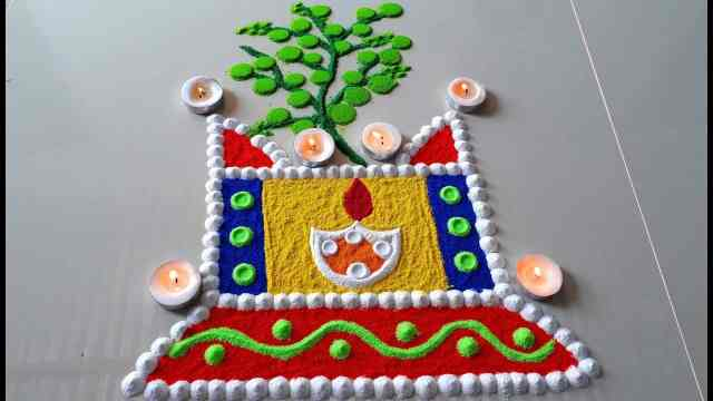 New Tusi vivah rangoli Design