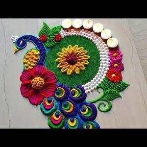 peacock rangoli designs with flowers