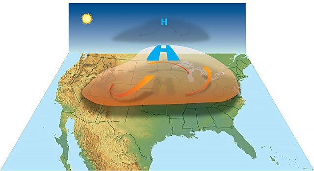 HEAT WAVE FORMATION: High-pressure circulation in the atmosphere acts like a dome or cap, trapping heat at the surface and favoring the formation of a heat wave.