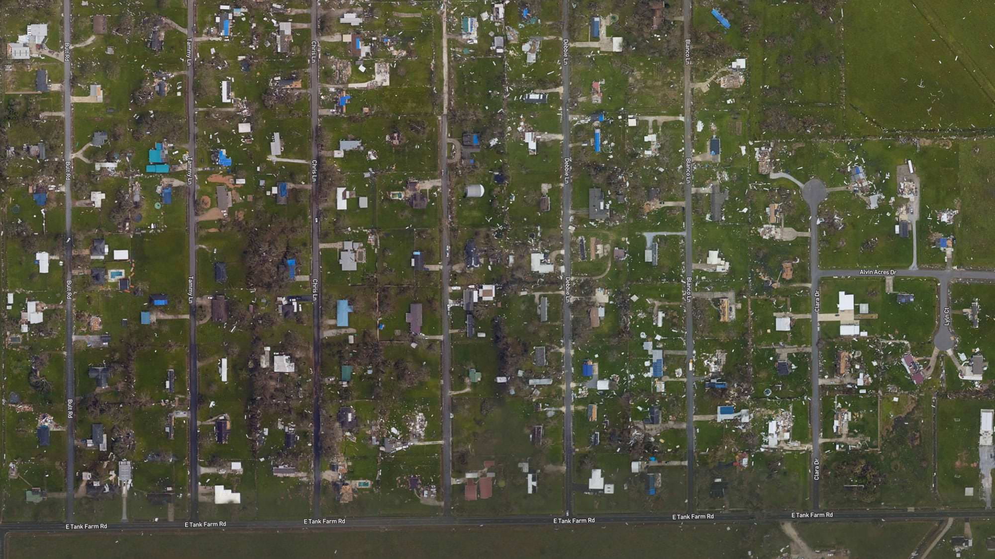 Lake Charles, Louisiana (East of Lake Charles Regional Airport) after Laura