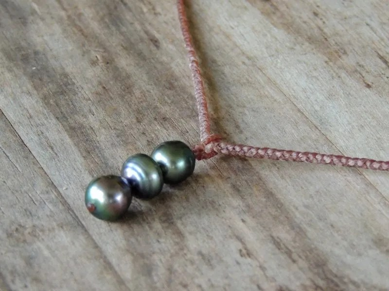 Ocean Tuff Jewelry - Triple Tahitian Pearl Braided Necklace