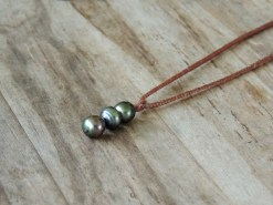 Ocean Tuff Jewelry - Triple Tahitian Pearl Braided Necklace