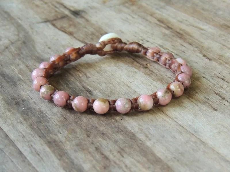 Ocean Tuff Jewelry - Pink Rhodonite Gemstone Bracelet