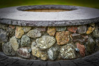 Fire Pit with natural river rock decorative concrete Oregon.