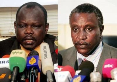SPLM Secretary General Pagan Amum and his deputy Yassir Arman
