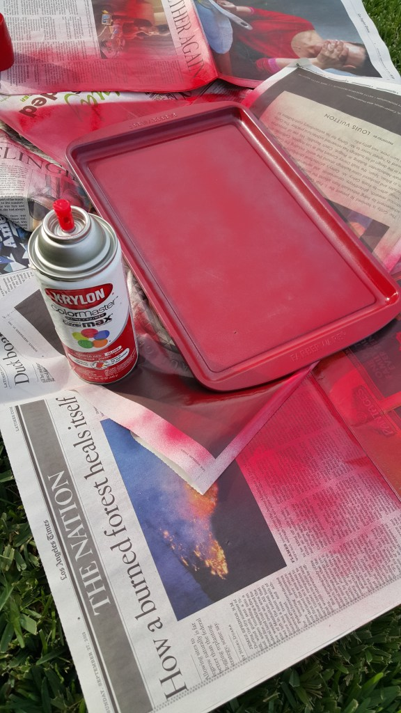 Cookie Sheet Chore Chart spray paint