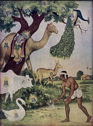 Krishna appearing in nature - illustration from 1960s Gita