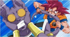 Featured Goku Bites Beerus 300x158 - Orden cronológico para ver todas las series y películas de Dragon Ball