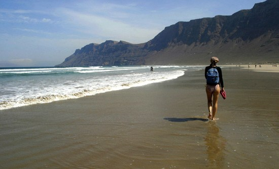 Strolling along the Famara beach, Lanzarote