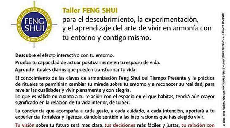 Taller Nivel 1 – Feng Shui del Tiempo Presente (Sábado, 04 de marzo)
