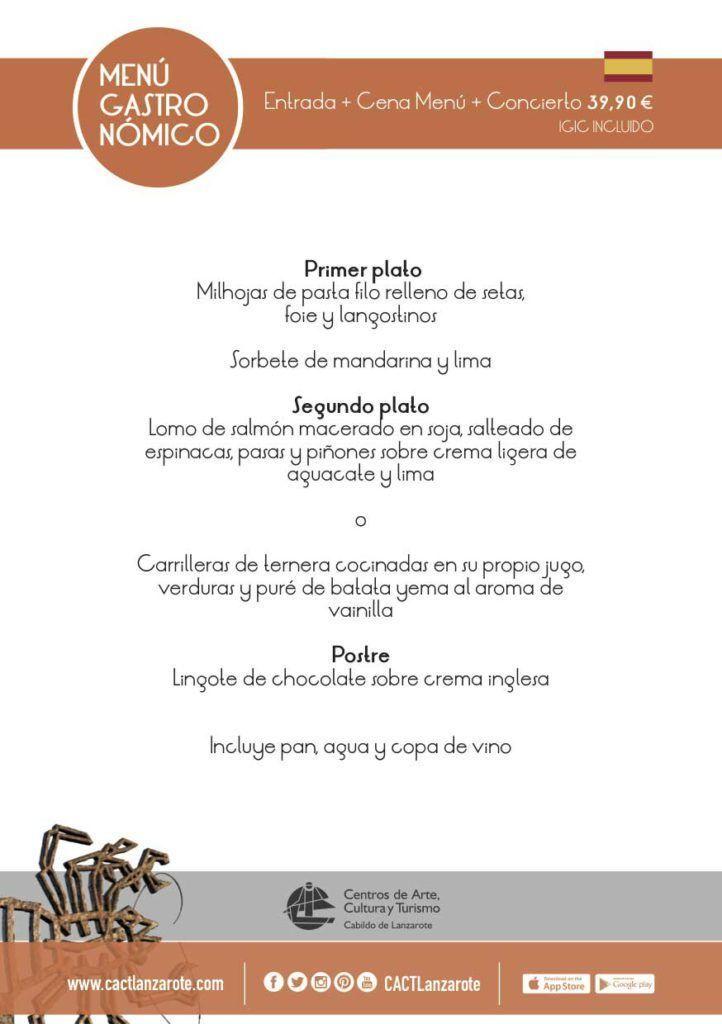 menu clasico cena y concierto en jameos del agua