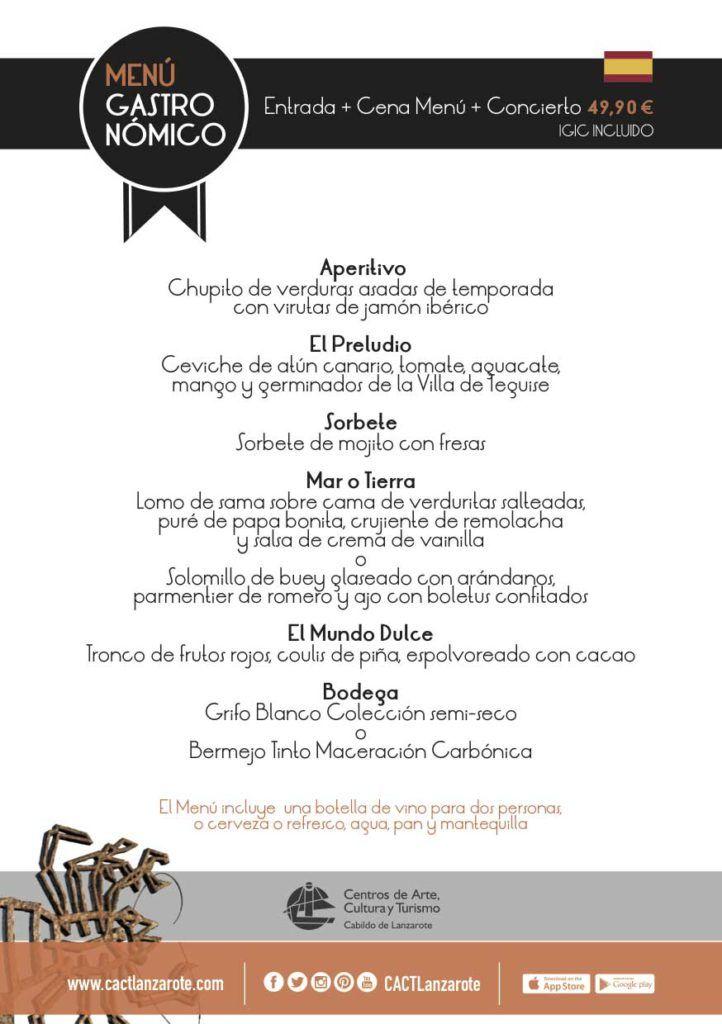 menu premium cena y concierto en jameos del agua