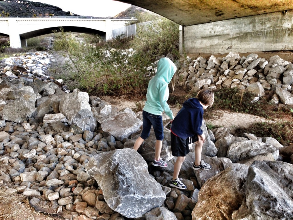 Climbing on rocks in Laguna Canyon