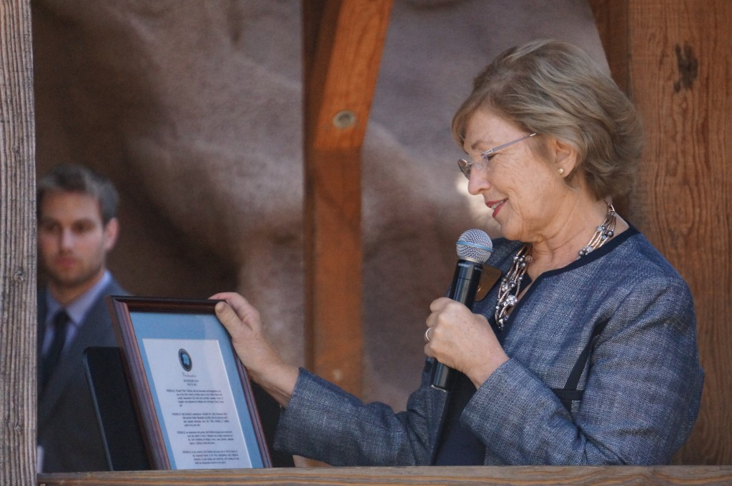 The Mayor of Buena Park reading a proclamation given to Knott's Berry Farm.
