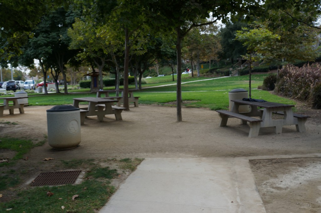 Park picnic benches