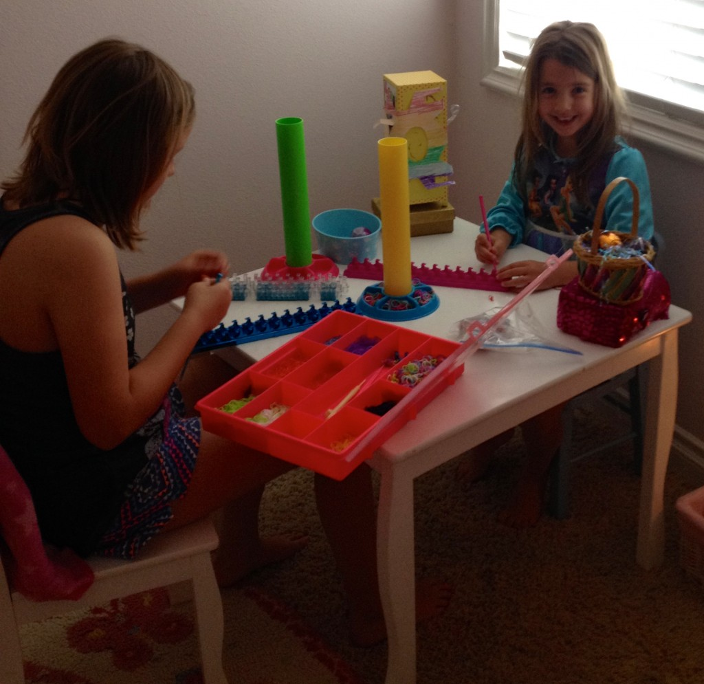 My little sister and I are Rainbow-Looming with our new Loom Booms.