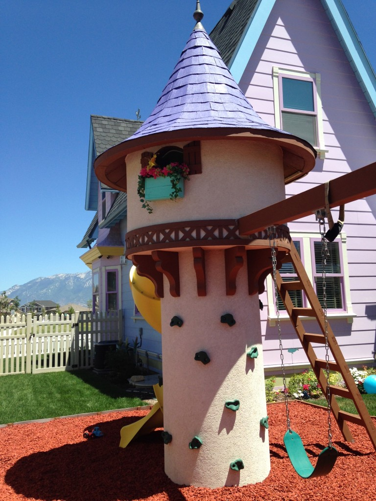 Tangled Tower and Rock Climbing Wall in the backyard of the UP House