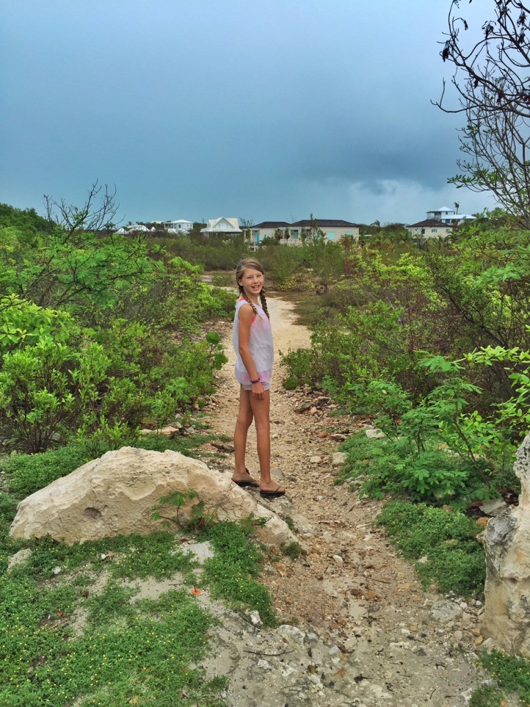 Walking along the path that leads to Taylor Bay in the Turks and Caicos