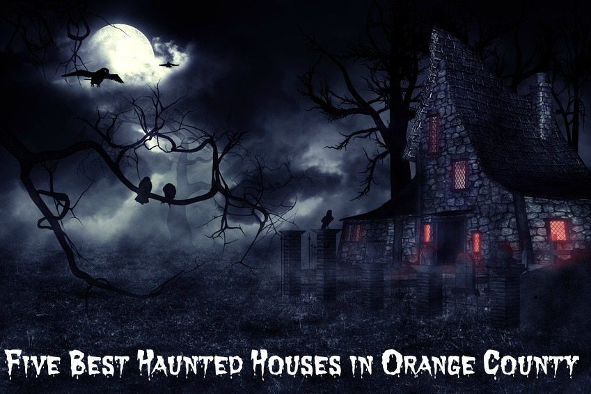 Dark mysterious halloween landscape with an old house.