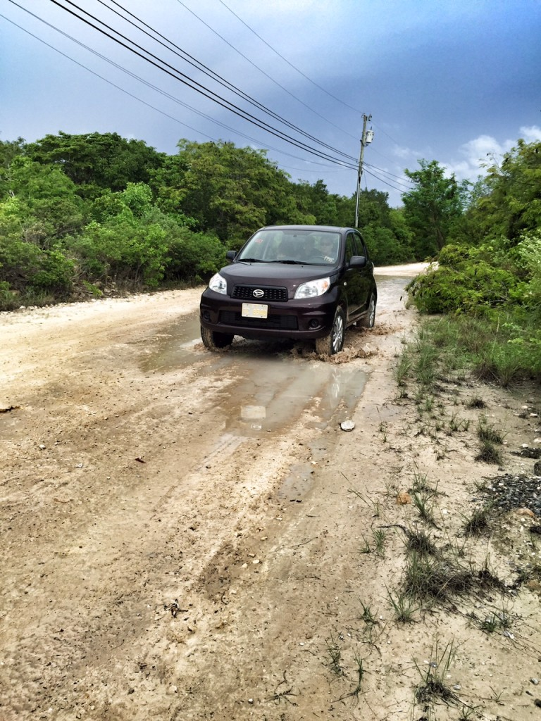Driving on a dirt road in the Turks and Caicos