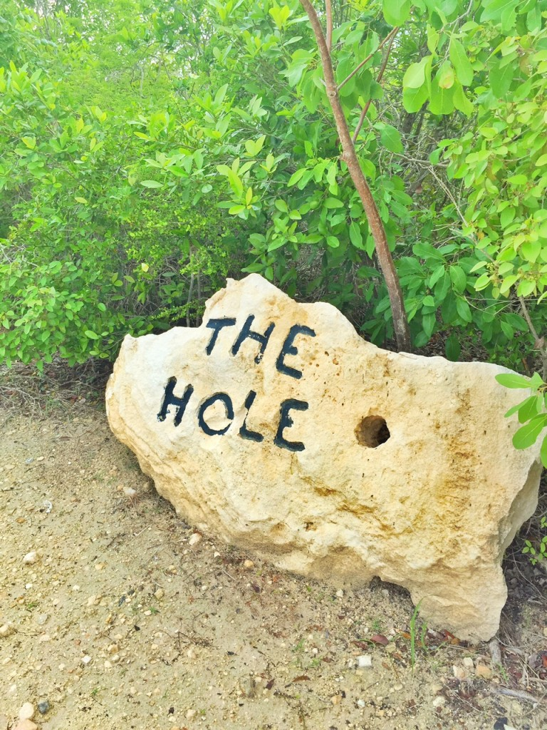 Sign directing to The Hole while hiking in the Turks and Caicos
