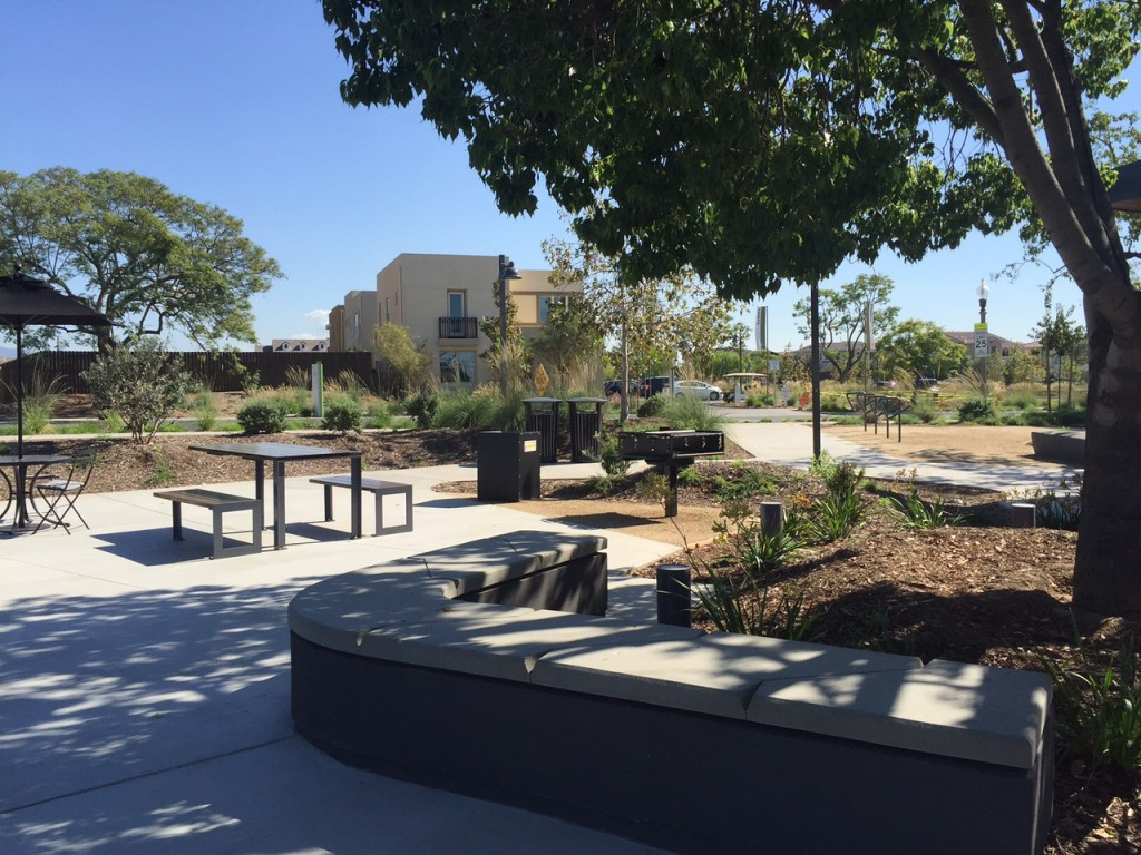 Picnic tables and barbecue at Beacon Park in Irvine