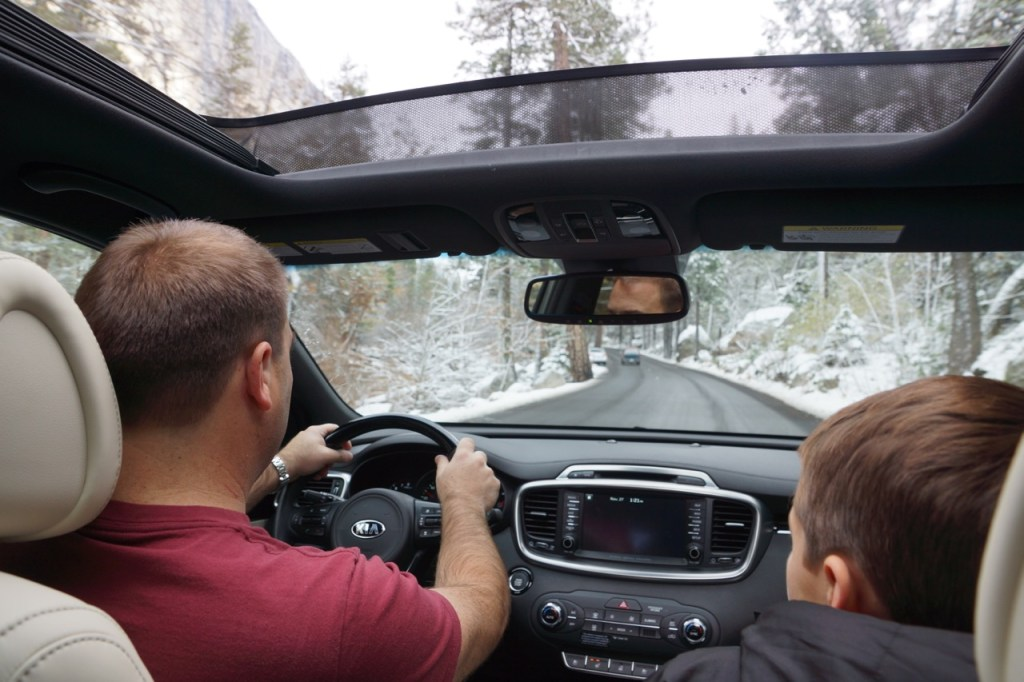 Father and Son driving in a Kia Sorento