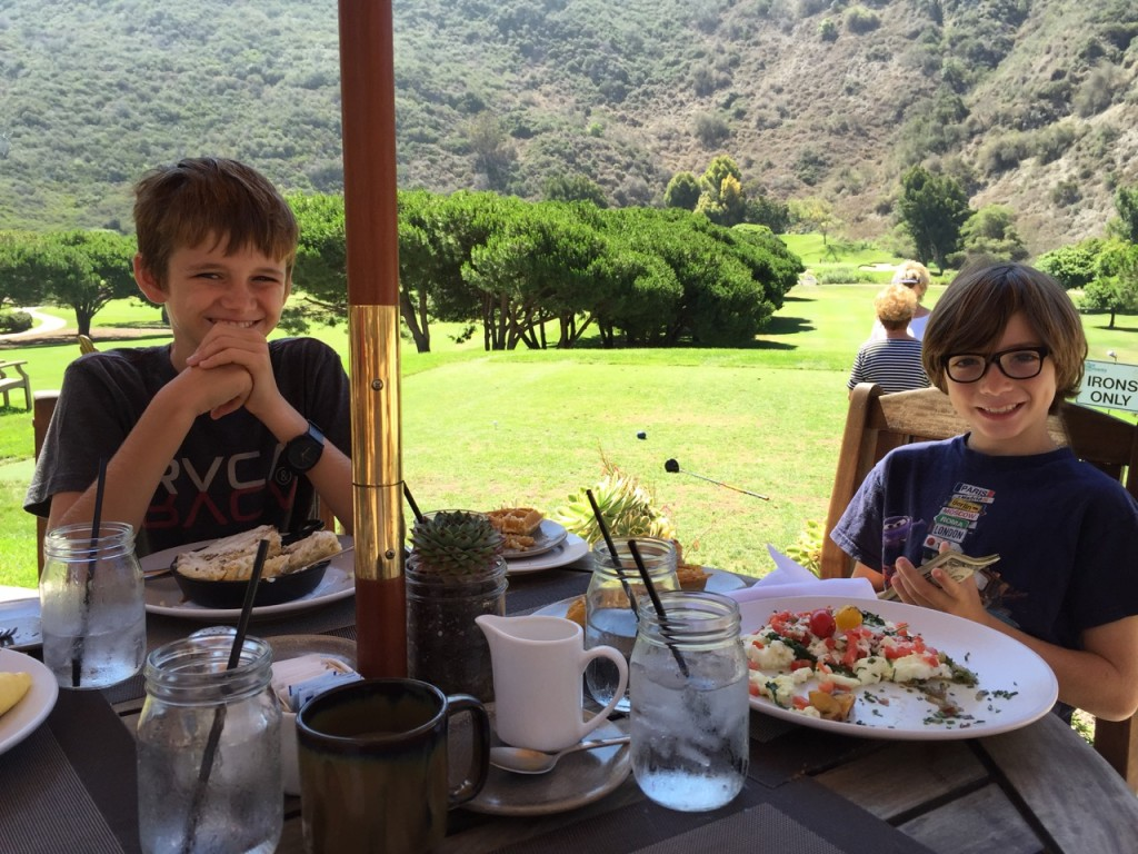 Kids having breakfast at The Ranch at Laguna Beach