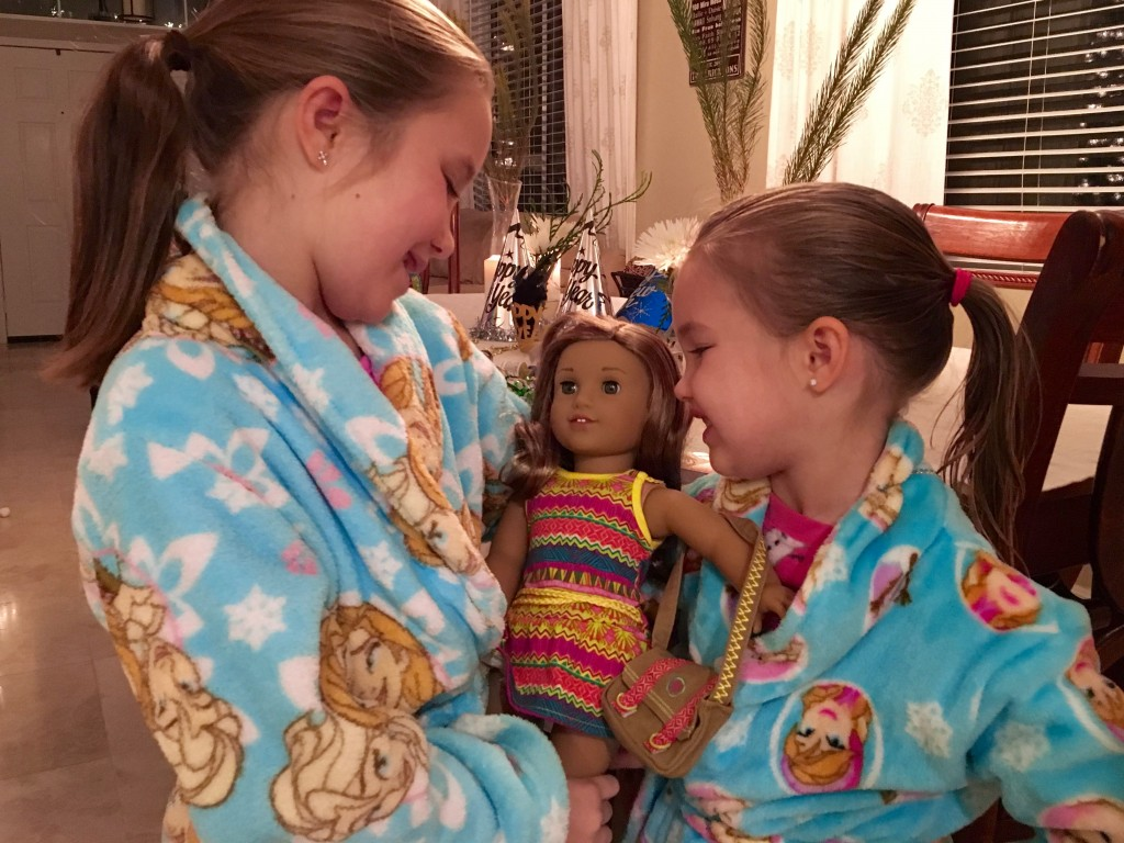 Girls Playing with American Girl Leah Clark