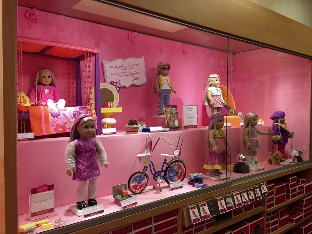 Selection of items at the American Girl Doll Store