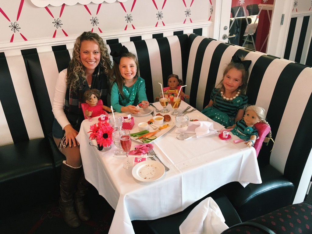 Mollie and her girls having lunch with their American Girl dolls