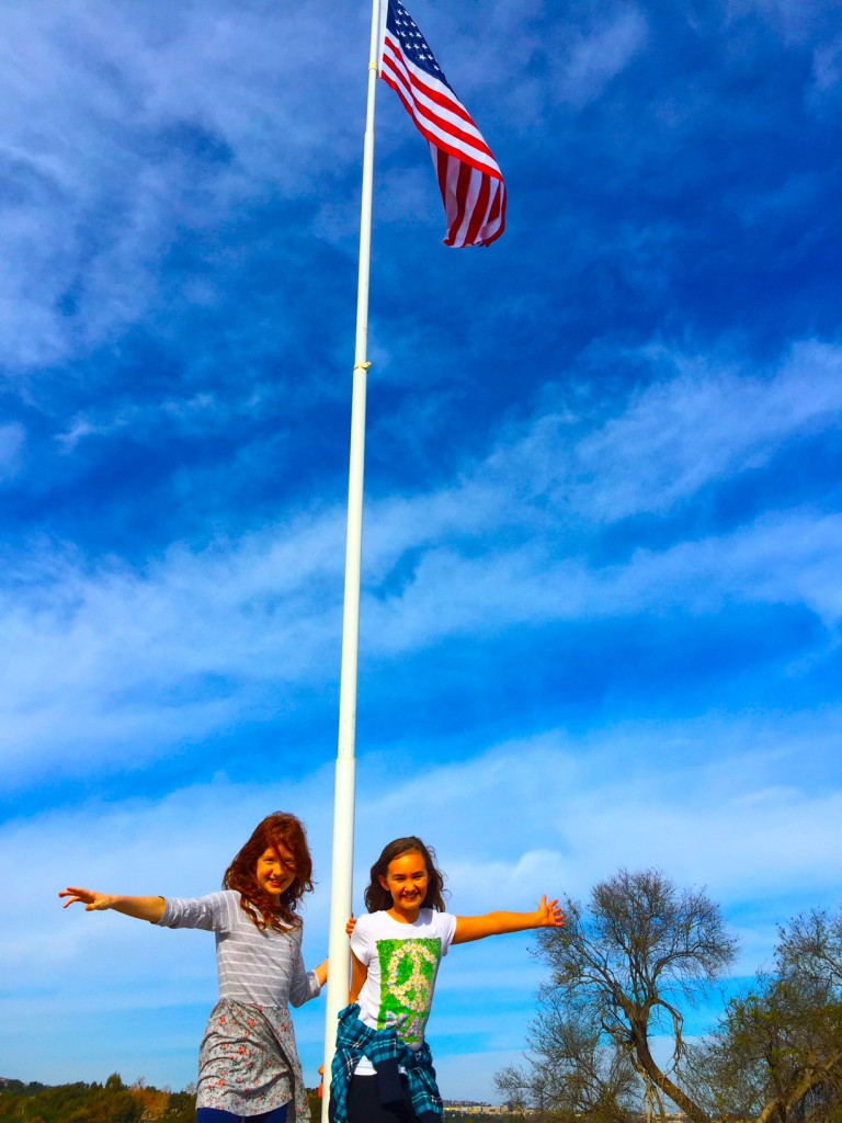 Kids and American Flag in Orange County