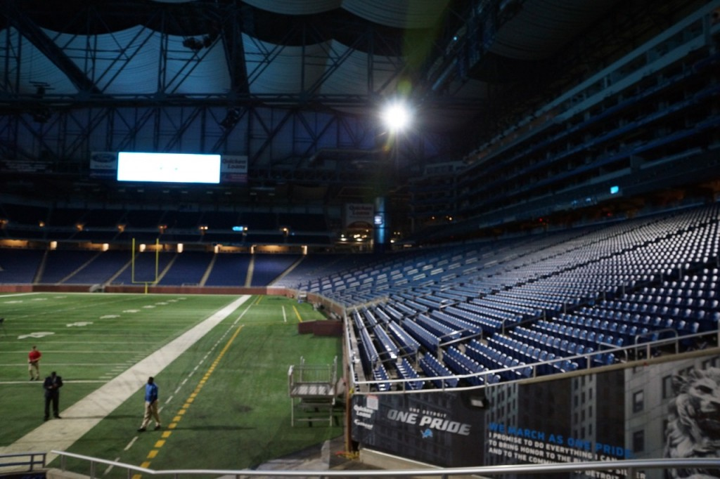 Looking down at Ford Field
