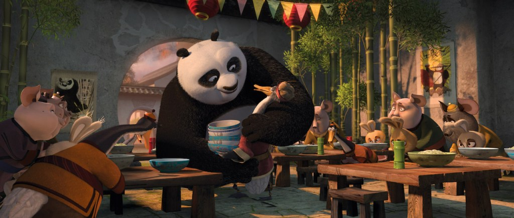 Po and his dad in Kung Fu Panda