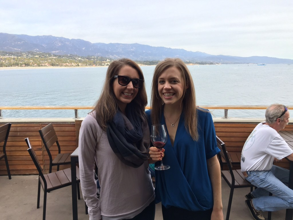 Sipping on wine while enjoying the views of Santa Barbara