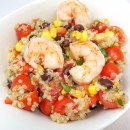 Fiesta Quinoa Salad with Garlic and Lime Grilled Shrimp