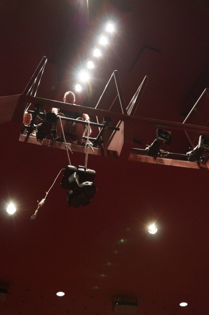 Hanging lights at the Segerstrom