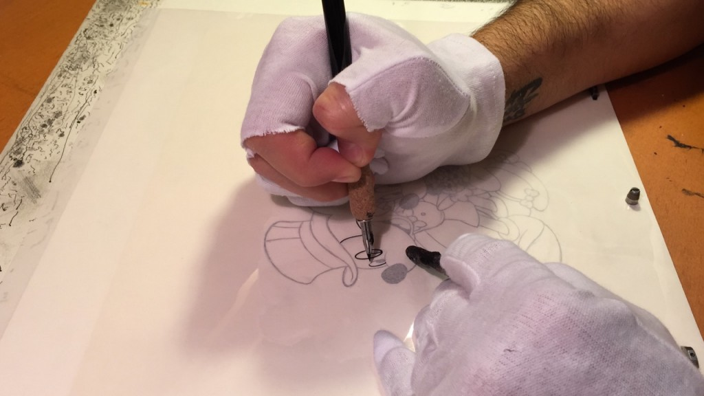 inking an animation cell