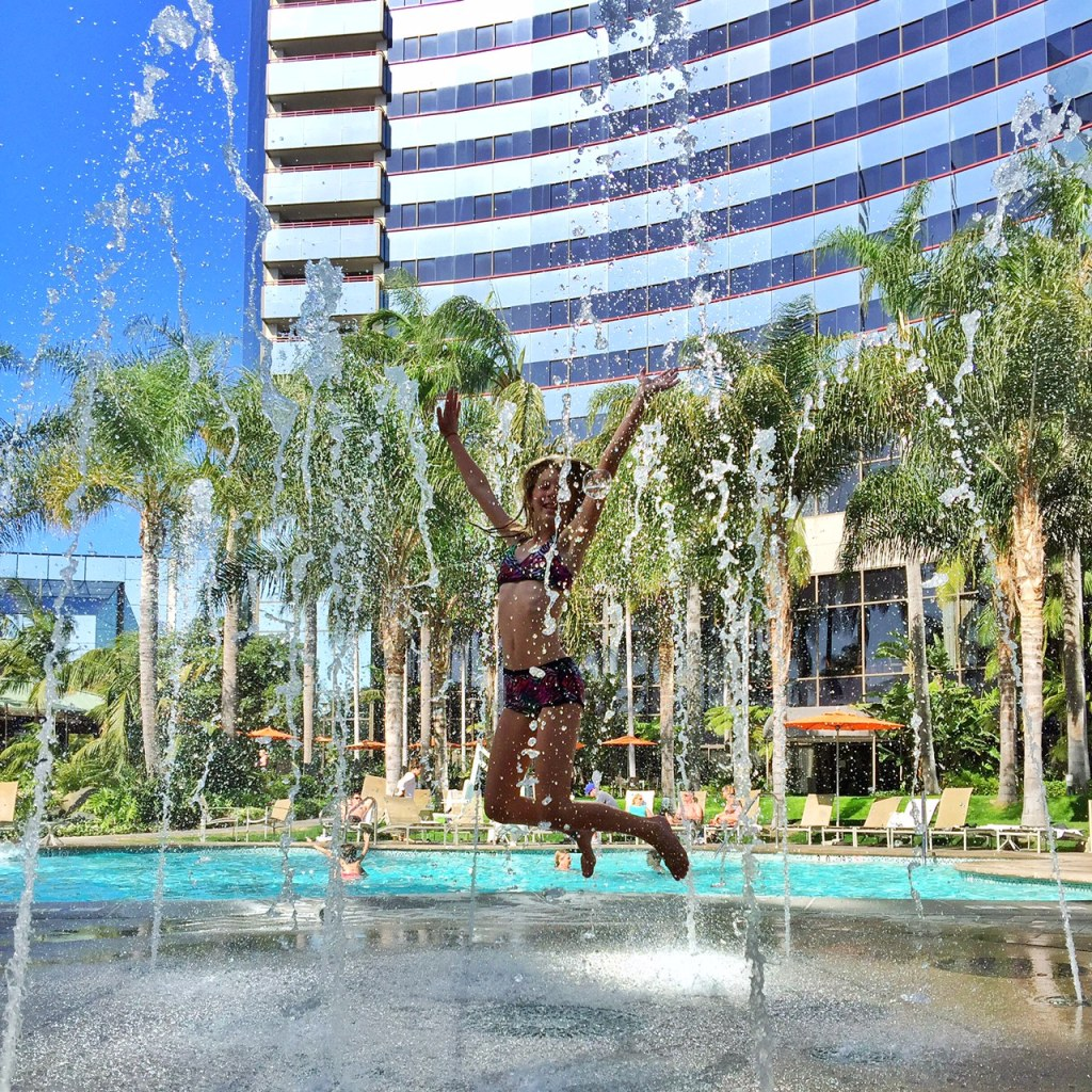 Splashing in the water at the Marriott Marquis San Diego Marina pool